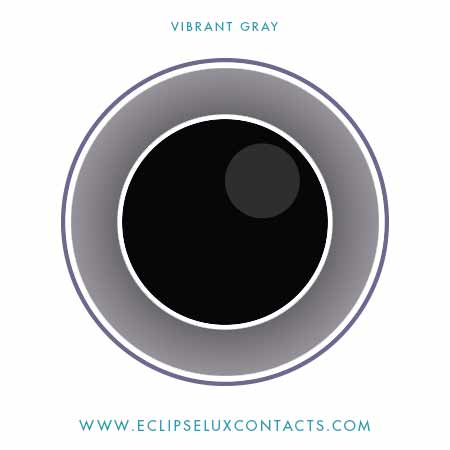 vibrant gray 3 tone color contact lens