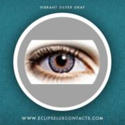 vibrant silver gray 3 tone color contact lens